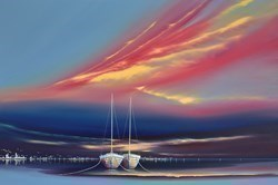 Twilight Boats I by Jonathan Shaw -  sized 36x24 inches. Available from Whitewall Galleries